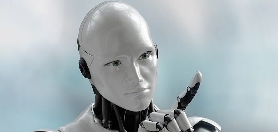 3D visual of a humanoid robot thinking or debating